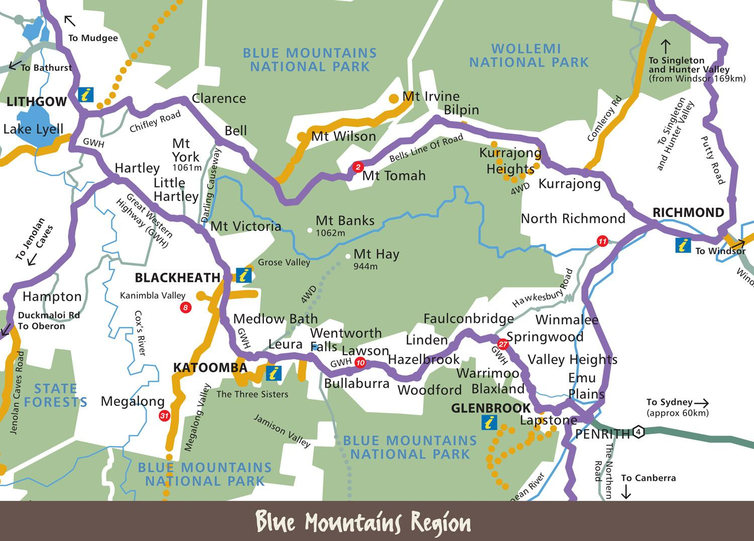 Blue mountains, Australien-map - Karte der blue mountains ... on
