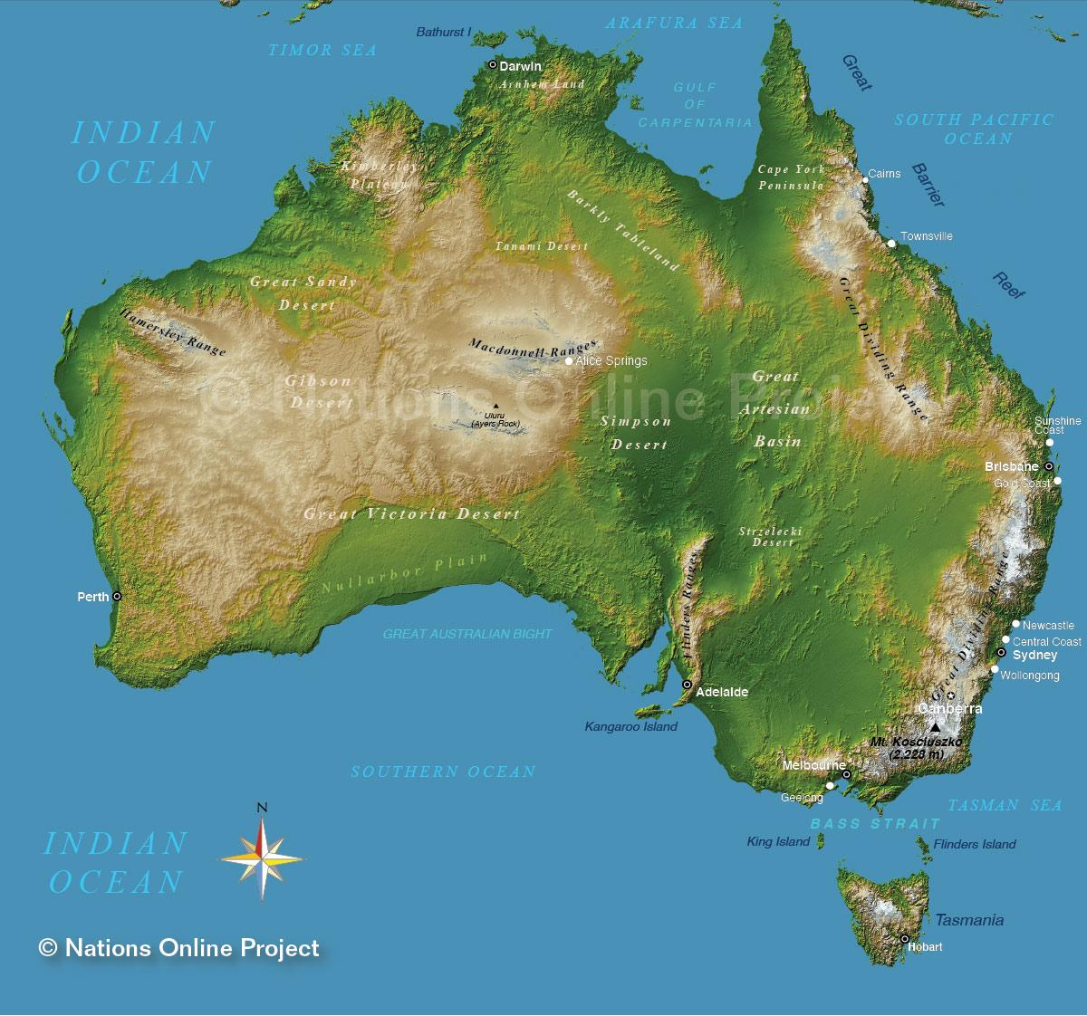 australien karte gebirge goudenelftal. Black Bedroom Furniture Sets. Home Design Ideas